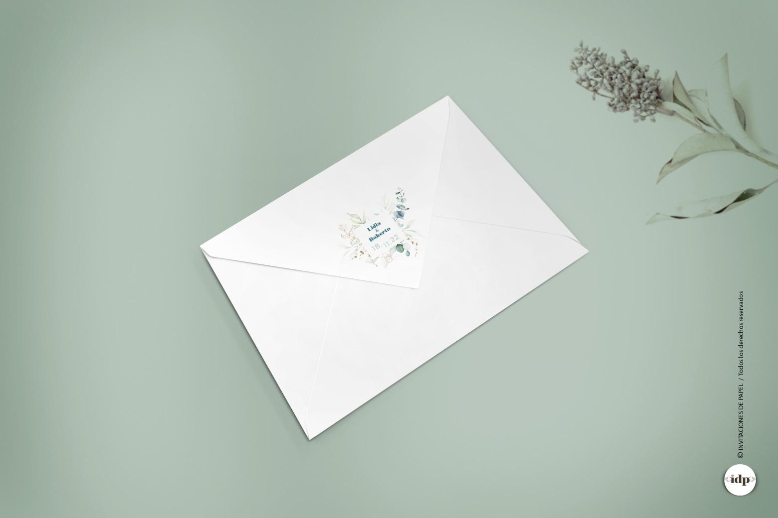 Imprimir Sello de Boda en el Sobre con hojas vergel