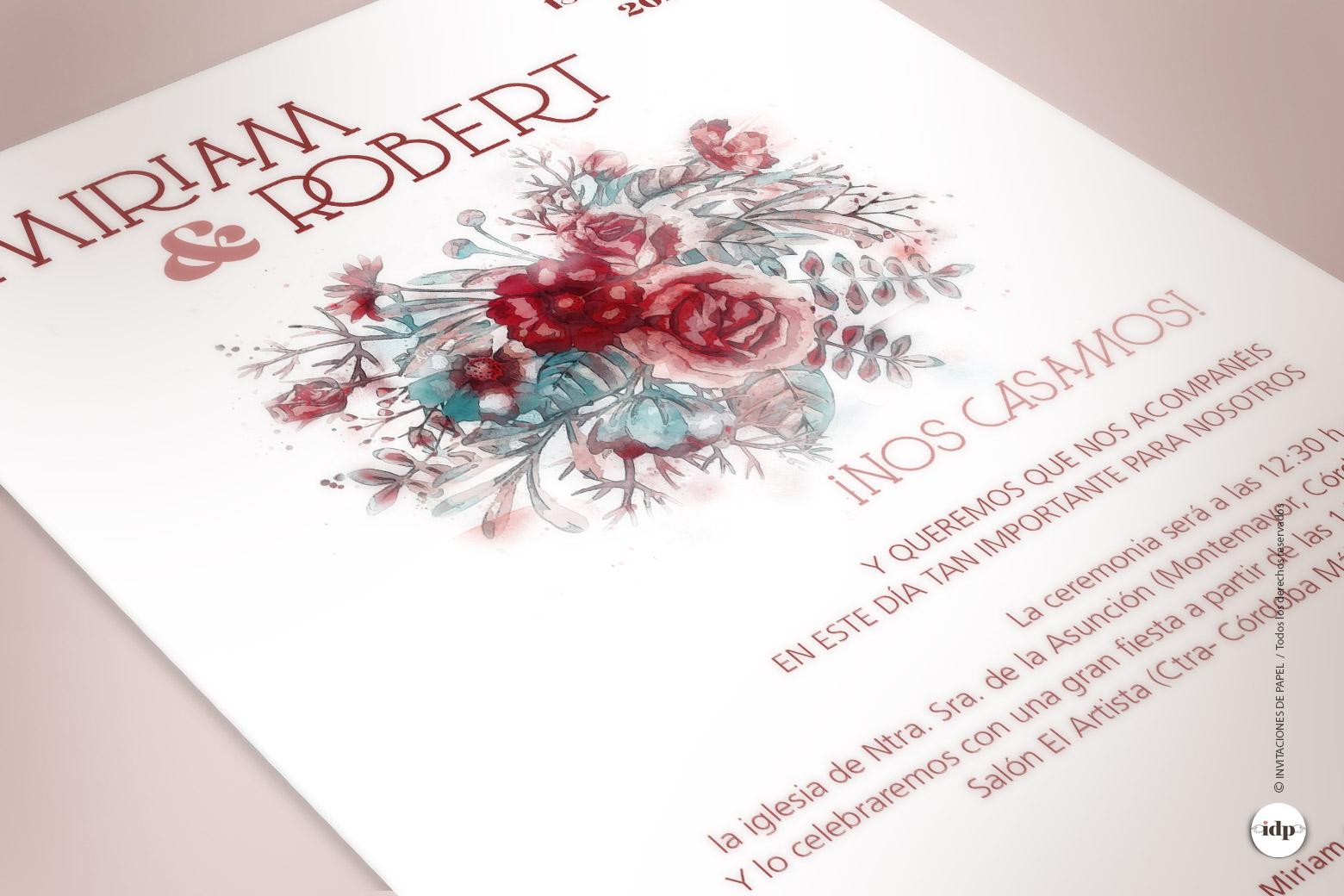 Invitaciones de Boda Florales pintada en Acuarela y Granate - silvestre