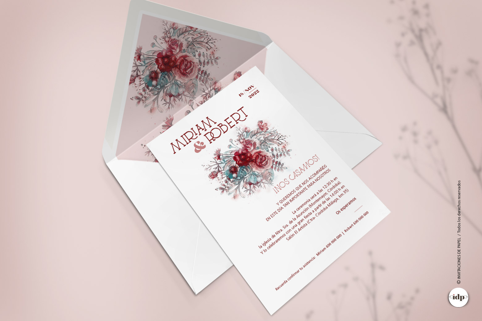 Invitaciones de Boda con Flores en Acuarela de color Granate - silvestre