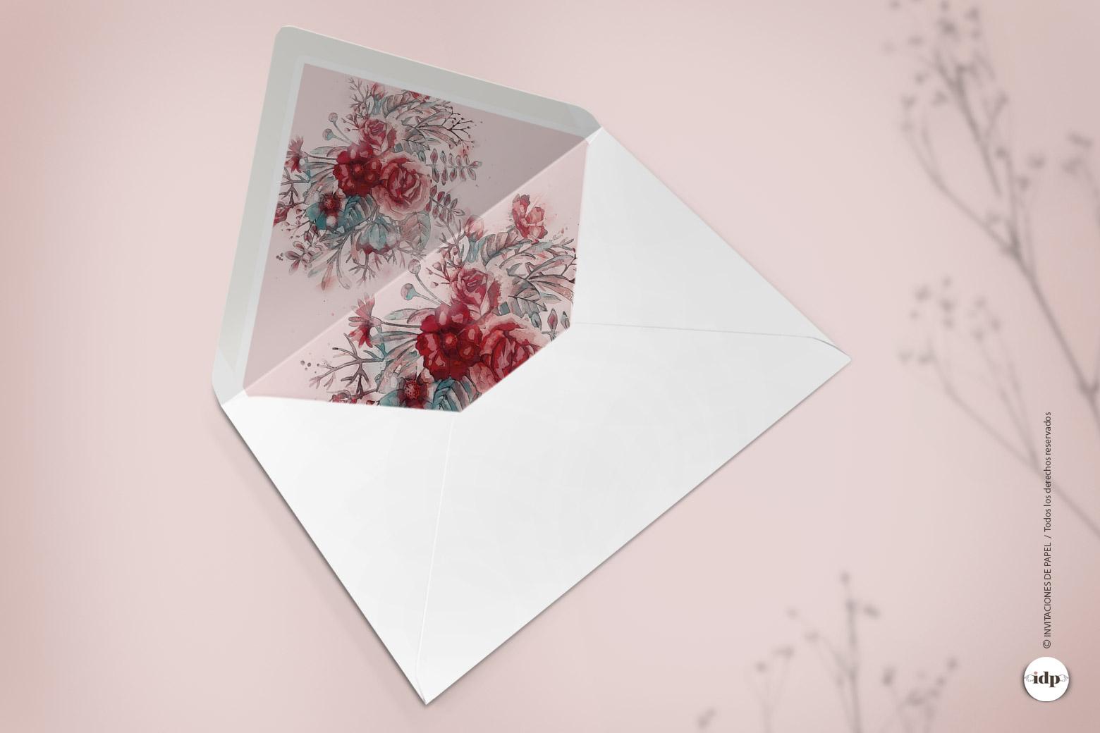 Sobre Decorado para Invitaciones de Boda con Flores en Acuarela Granate - silvestre