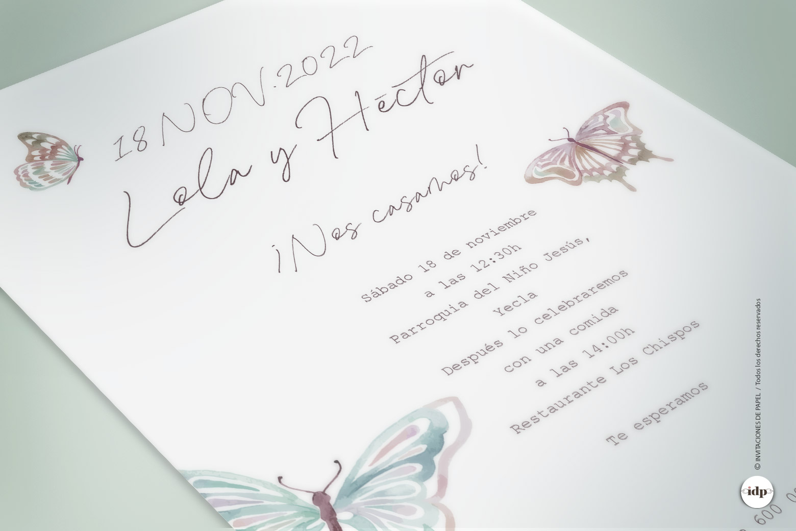 Invitacion de Boda Sencilla, Original con Mariposa en acuarela - butterfly