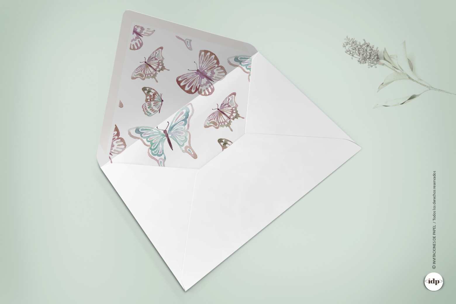 Sobres Decorados para Boda Sencillos con Mariposas en Acuarela