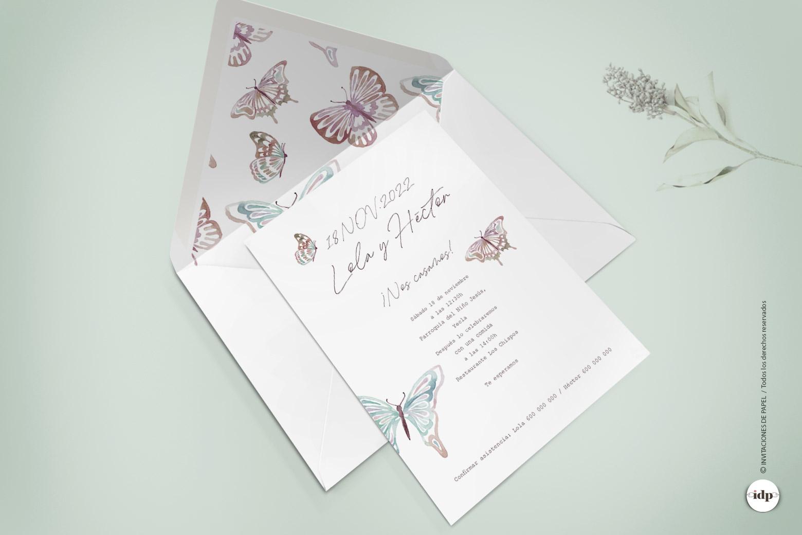 Invitaciones de Boda Sencilla en Acuarela con Mariposa