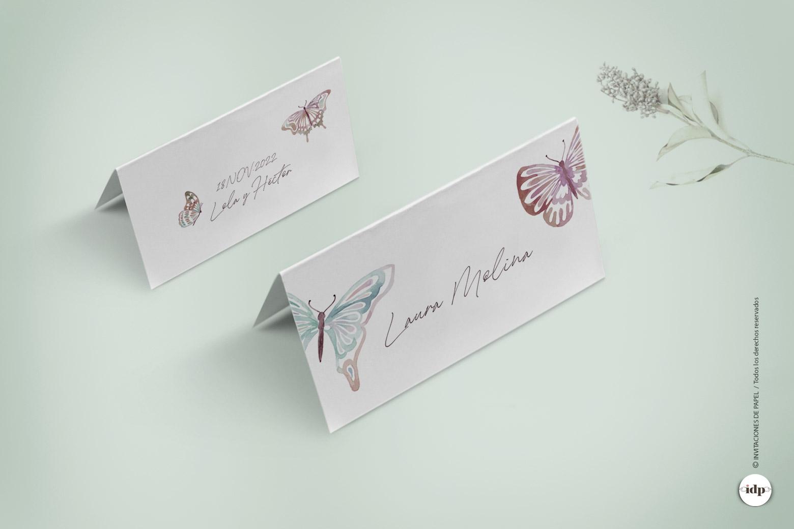 Puestos de Mesa de Boda Sencillos con Mariposas como en Acuarela
