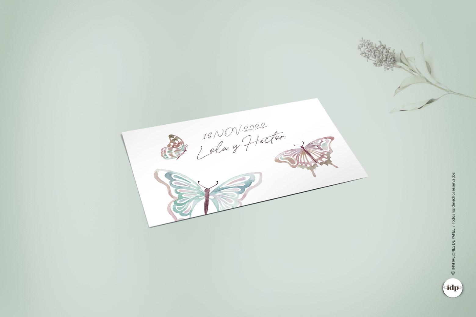 Pegatina para Regalo de Boda con Mariposas Sencillas - butterfly rectangular