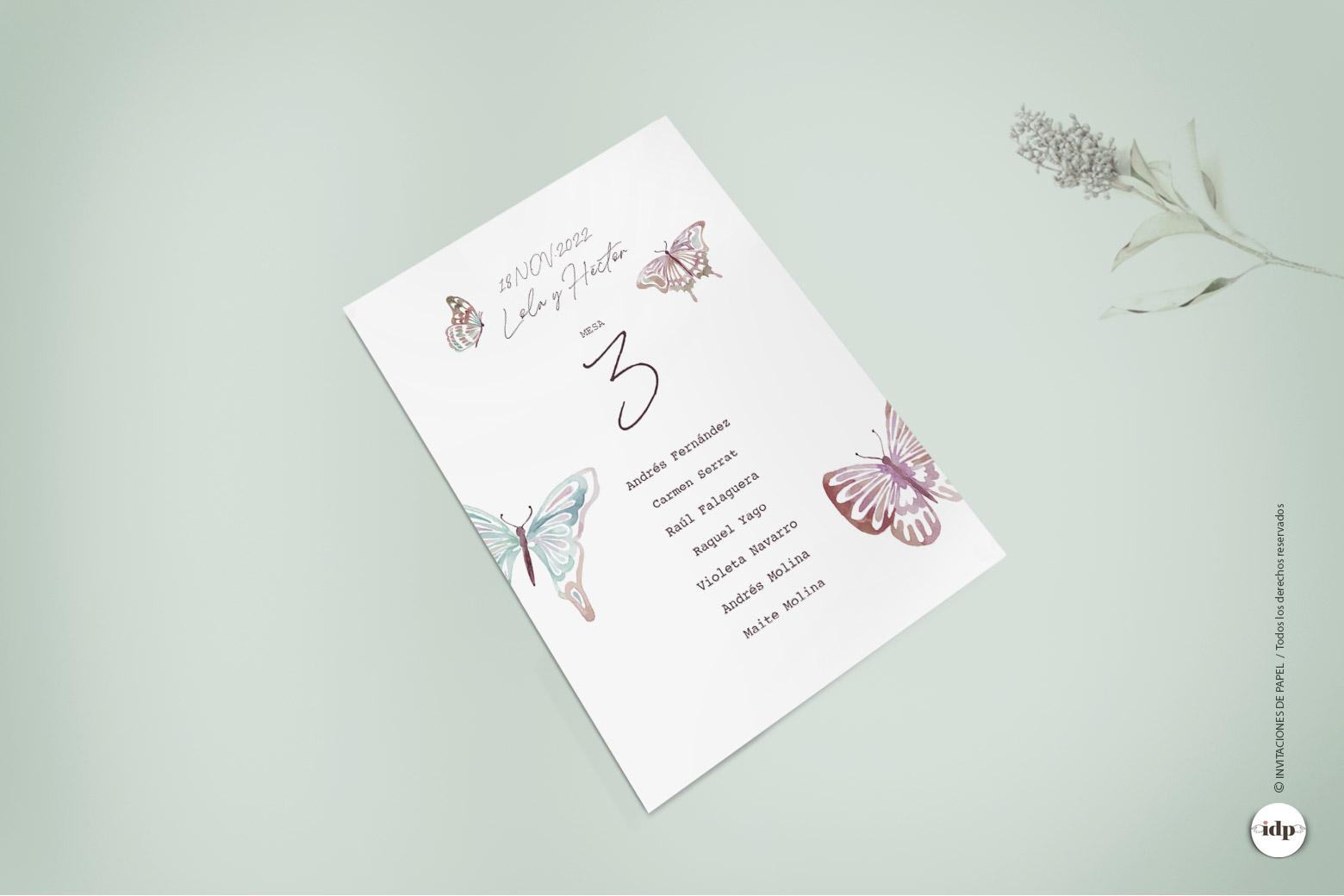 Listas de Mesa para Boda Sencillas con Mariposas como de Acuarela