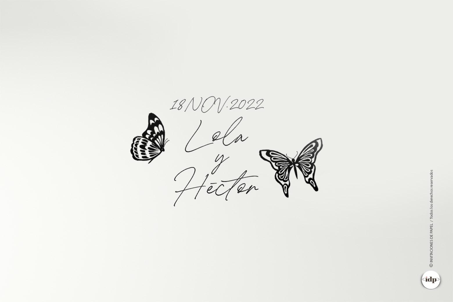 Sello de Boda Personalizado con Mariposas