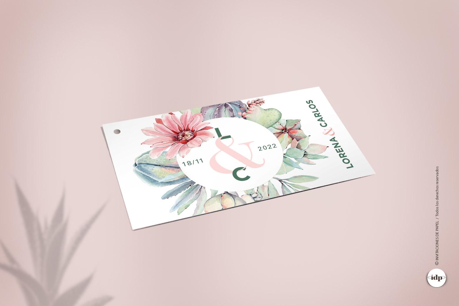 Etiqueta para Regalos de Boda con una corona de Cactus y Flores en Acuarela