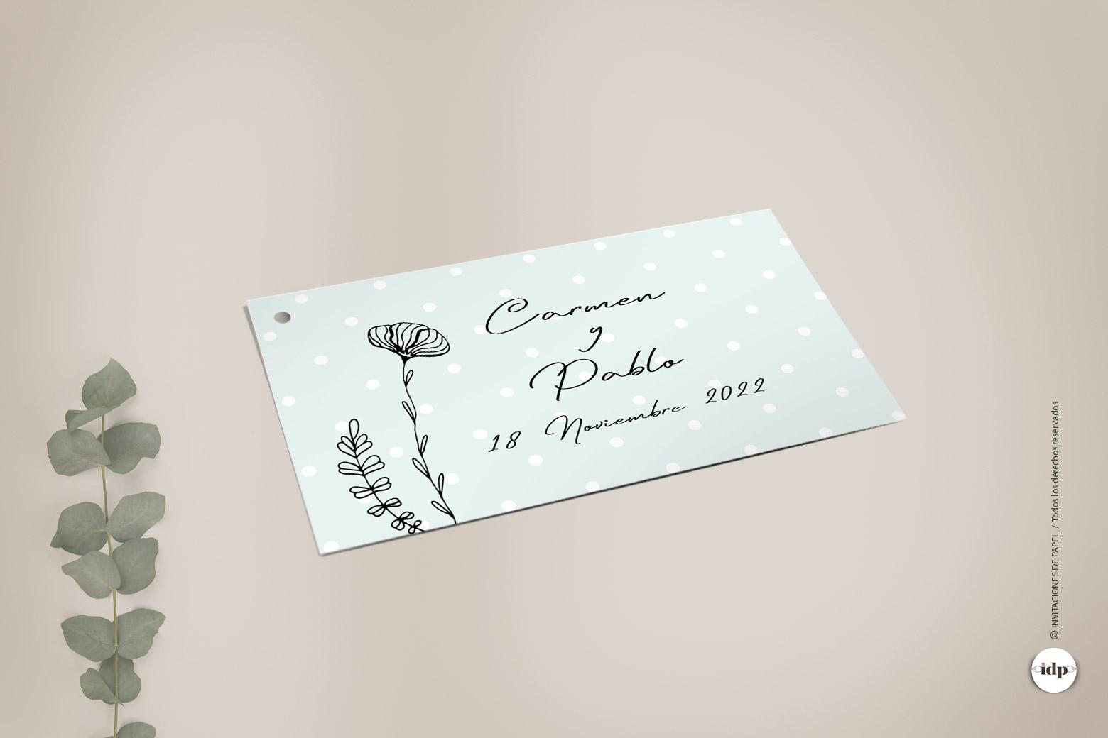 Etiqueta de Regalo para Boda Sencilla con Ilustraciones de Flores y ramas - chic
