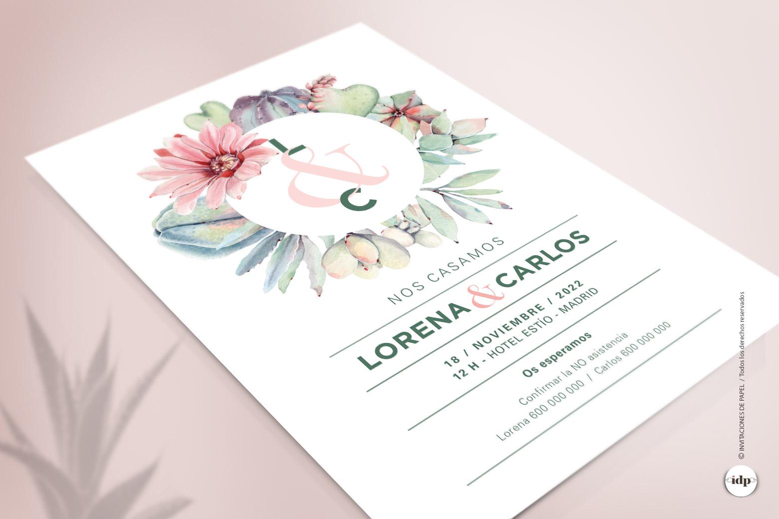 Invitacion de Boda con Cactus y Flores en una Corona de Acuarela