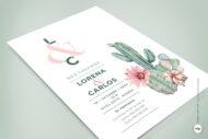 Invitaciones de Boda Acuarela Cactus