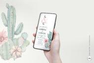 Invitaciones de Boda Digitales para Enviar como Foto con Cactus Acuarela