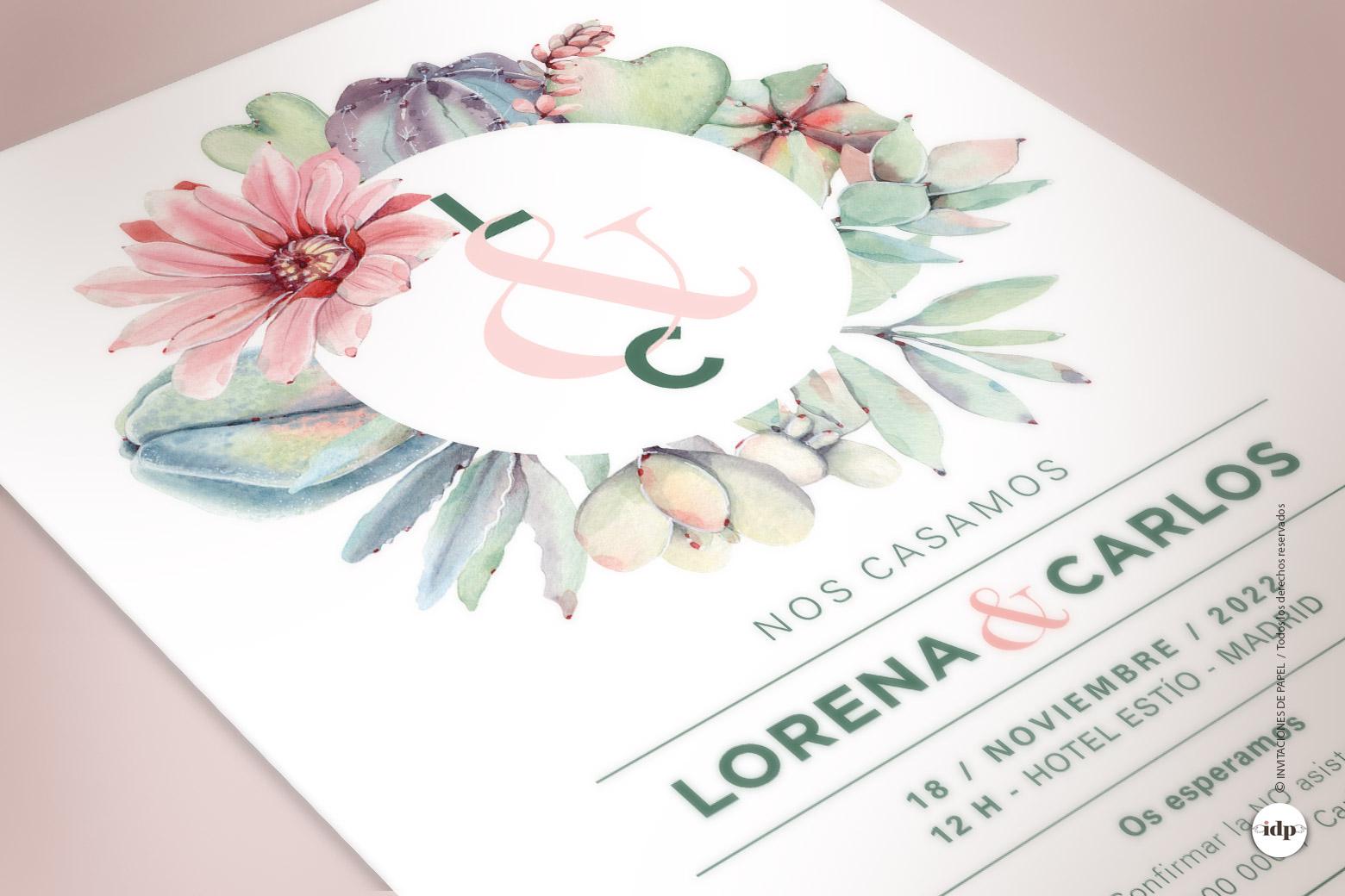 Invitacion de Boda con corona de Cactus y Flores en Acuarela