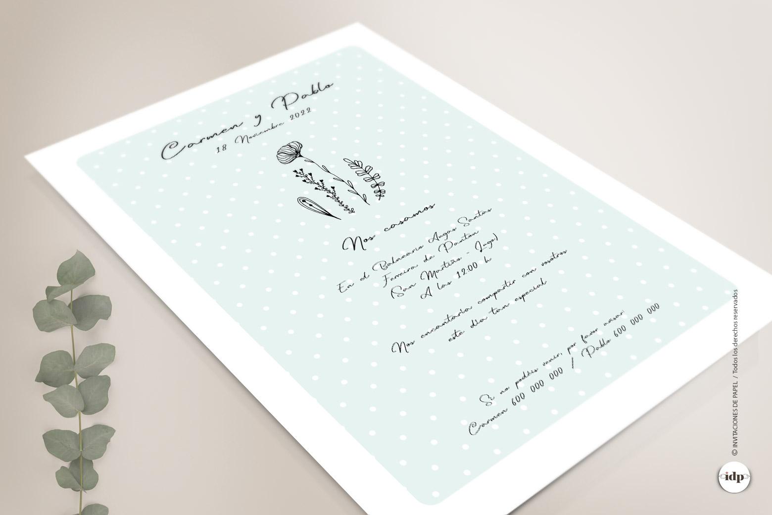 Invitaciones de Boda Sencillas y Originales con Ilustraciones de Flores y Ramas de Hojas