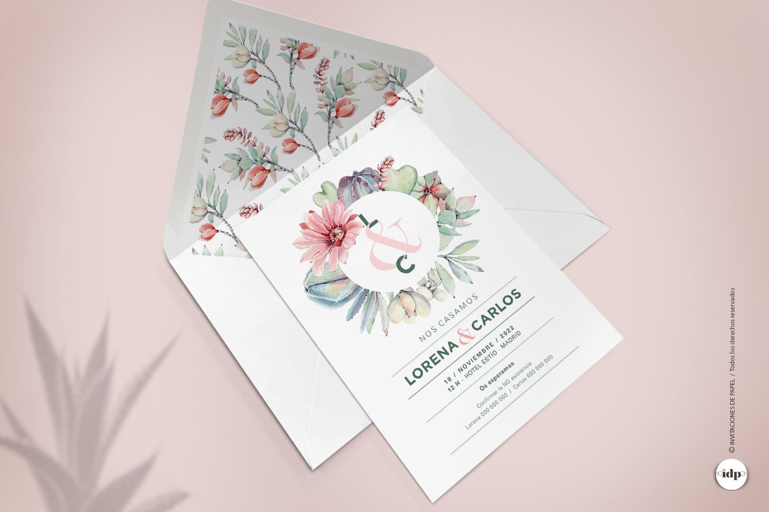 Invitaciones de Boda con una corona de Cactus y Flores pintadas en Acuarela