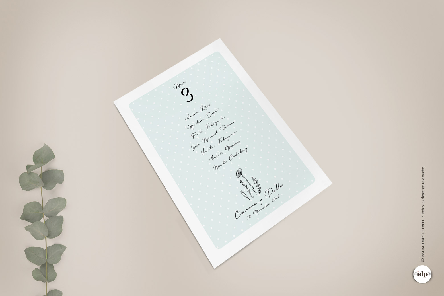 Listas de Mesas de Boda Sencillos y Originales con Ilustracion de Flores - chic