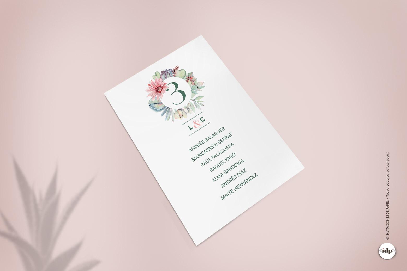 Listas de Mesa de Boda con Cactus y Flores en Acuarela formando una corona