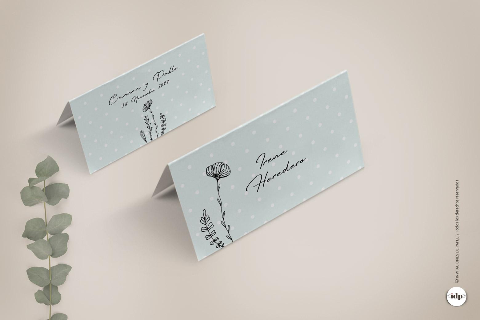 Puestos de Mesa para Boda Sencillos y Originales con ilustraciones de Flores - chic