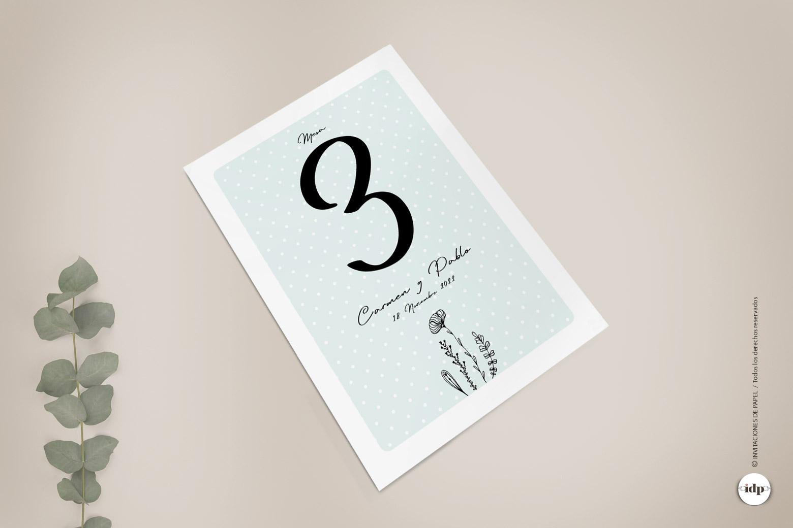 Numero de Mesa para Boda Sencillo y Original con Flores - chic