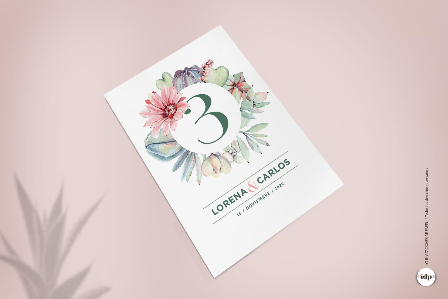 Numero para Mesas de Boda con Cactus y Flores en Acuarela Sencillos - corona