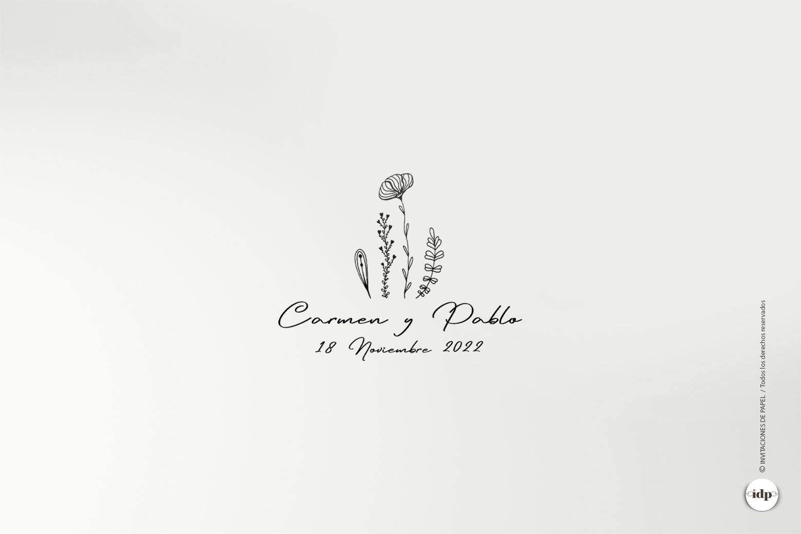 Sello de Boda Original Personalizado con Flores Sencillo y