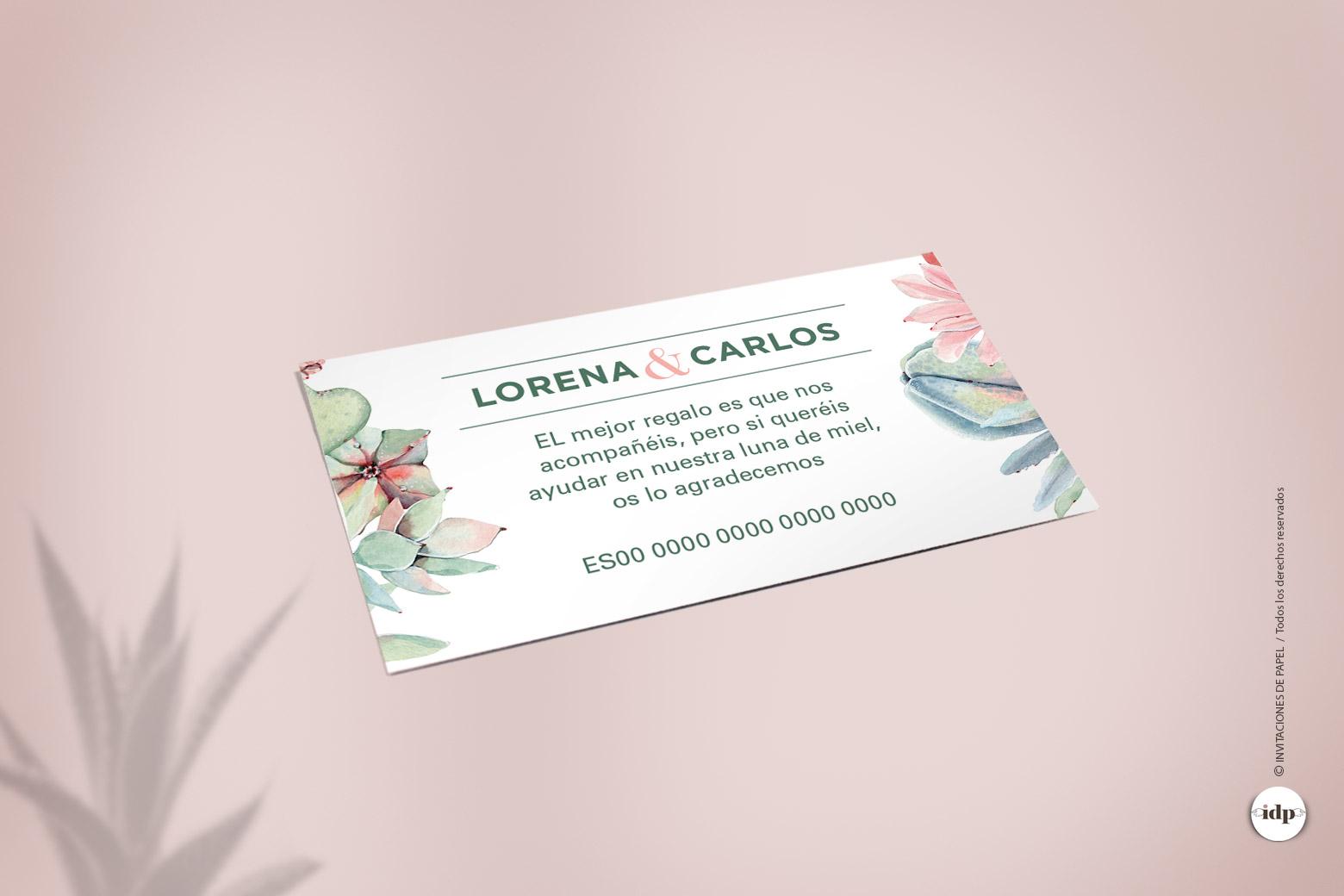 Tarjeta con Numero de Cuenta del Banco de la Boda con Cactus y Flores en Acuarela