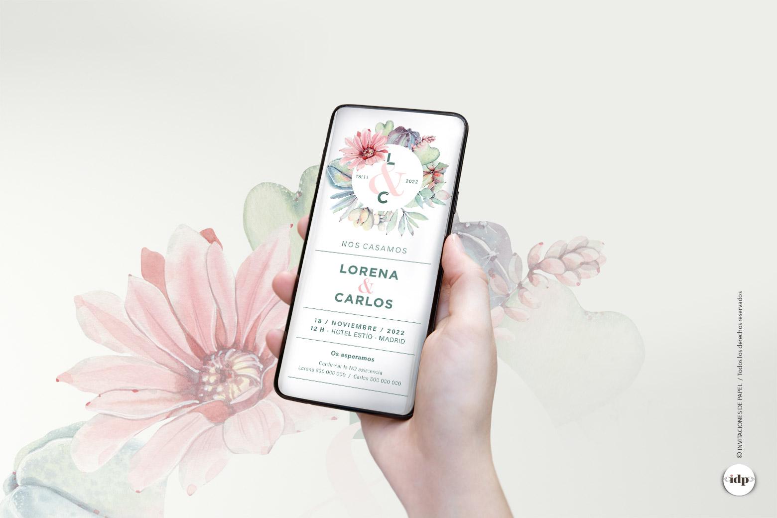 Invitaciones de Boda Digitales con Flores y cactus - corona