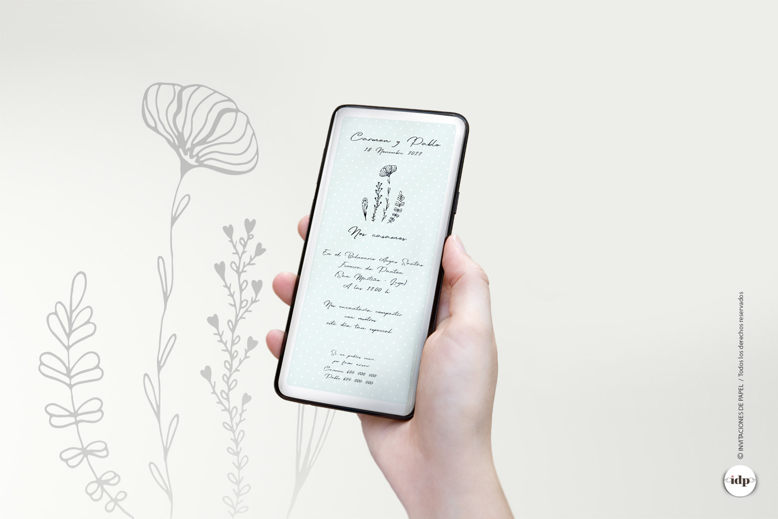 Invitaciones de Boda Digitales Originales y Sencillas con Flores - chic