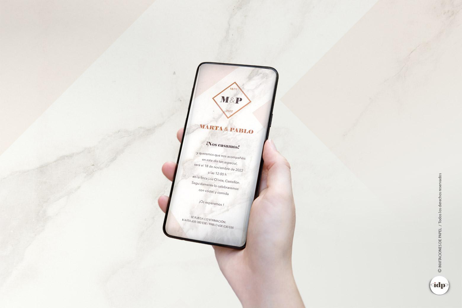 Invitaciones de Boda Digitales Elegantes - marmol