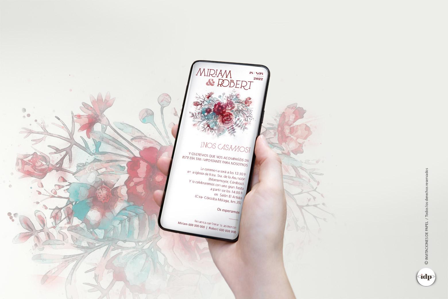 Invitaciones de Boda Digitales Originales con Flores - silvestres