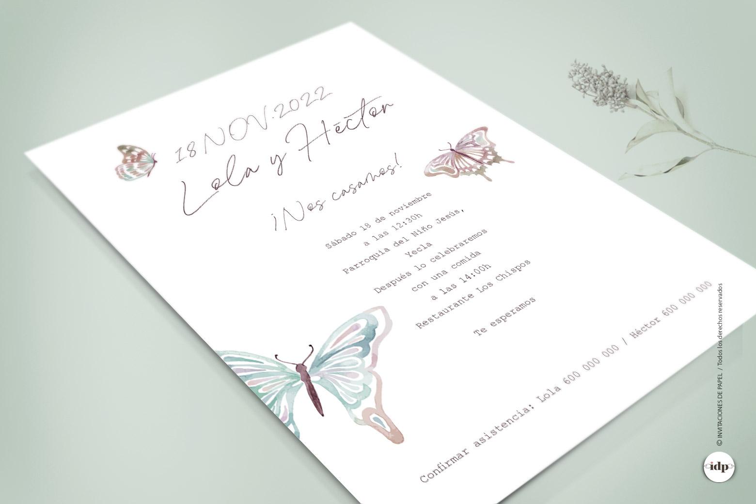Invitacion de Boda Original con Mariposas en Acuarela - butterfly
