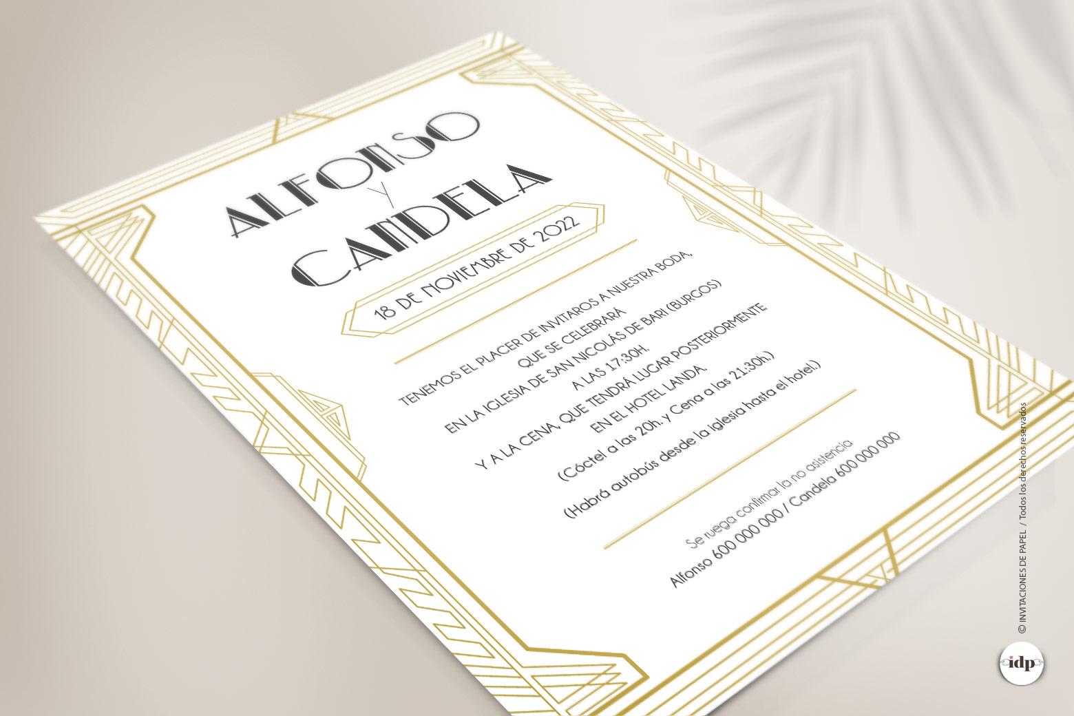 Invitacion de Boda Vintage Años 20 - gatsby
