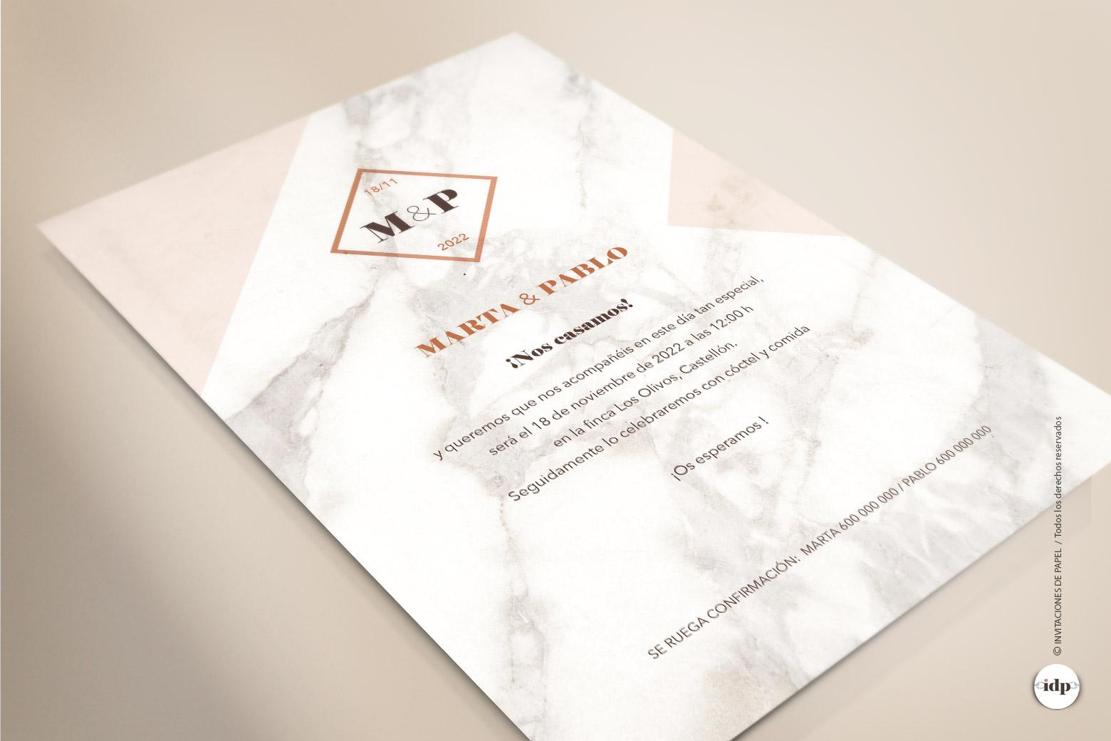 Invitacion de Boda Marmol Sencilla y Original