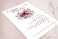 Invitacion de Boda con Flores granates y Rojas en Acuarela- silvestre