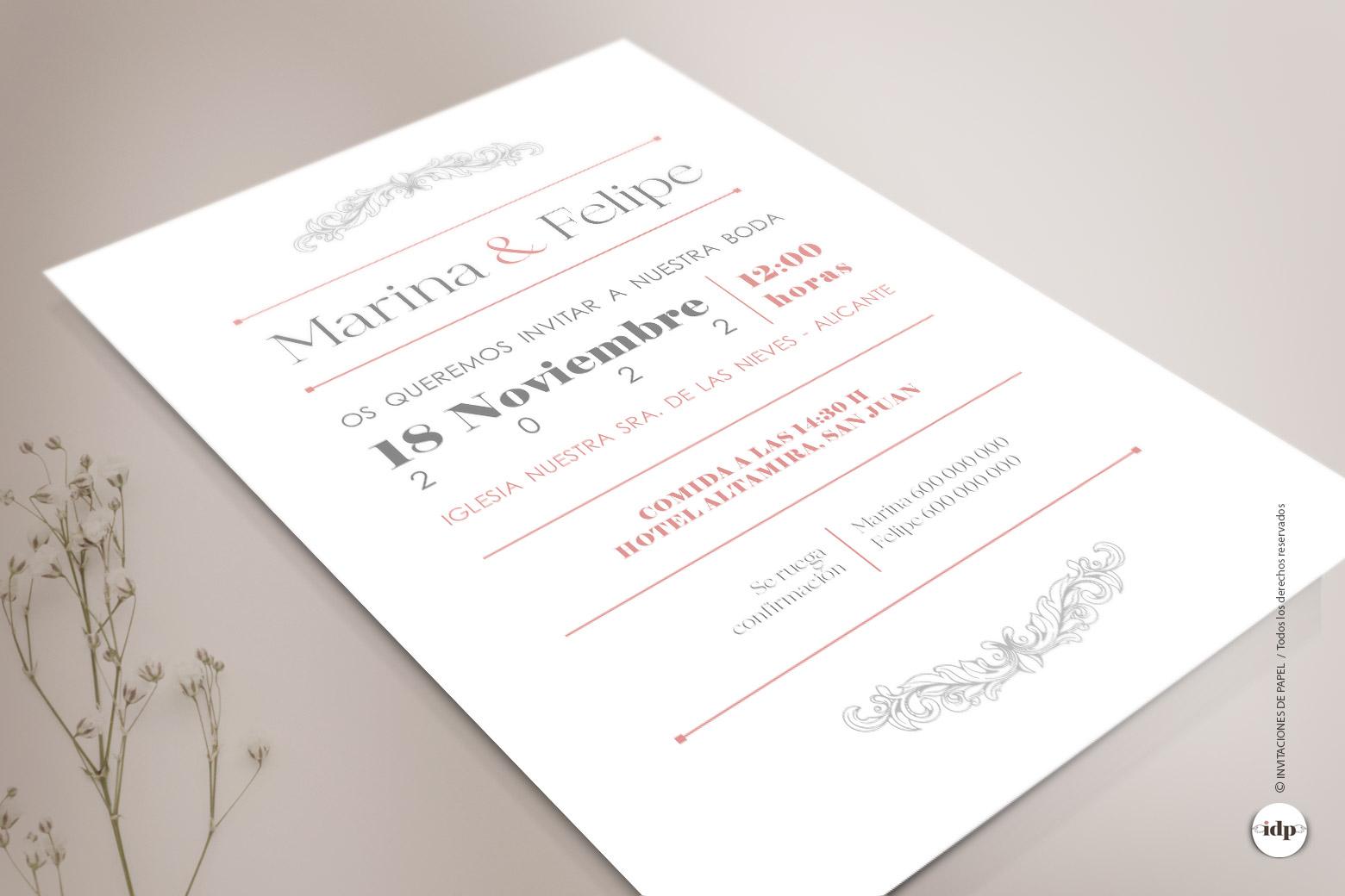 Invitacion de boda Vintage, Sencilla y Elegante - sweet