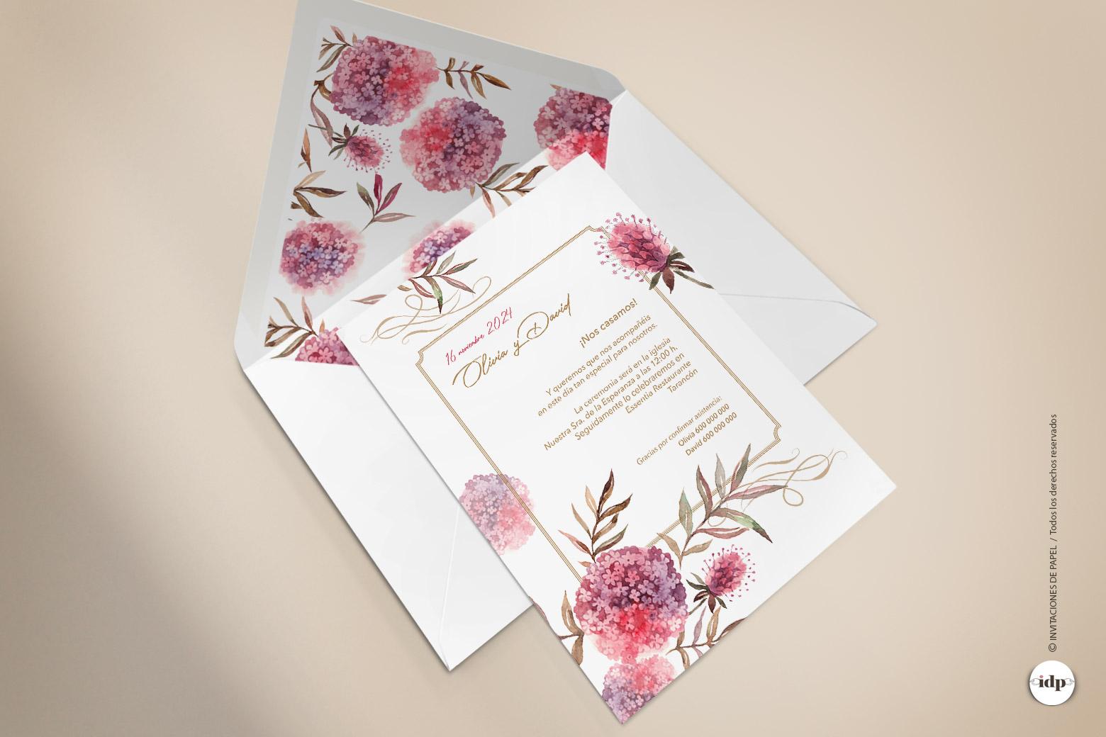 Invitaciones de Boda con Flores estilo Boho