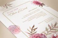 Invitaciones de Boda con Flores tipo Boho como pintada en Acuarela y Vintage