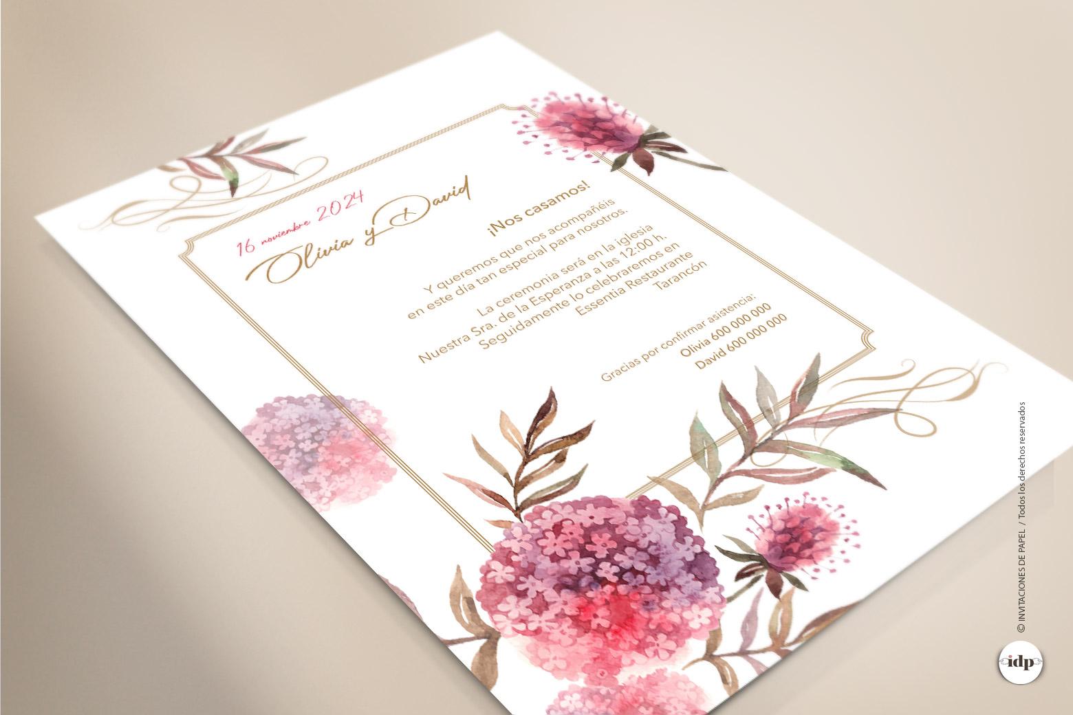 Invitaciones de Boda con Flores como de Acuarela Boho
