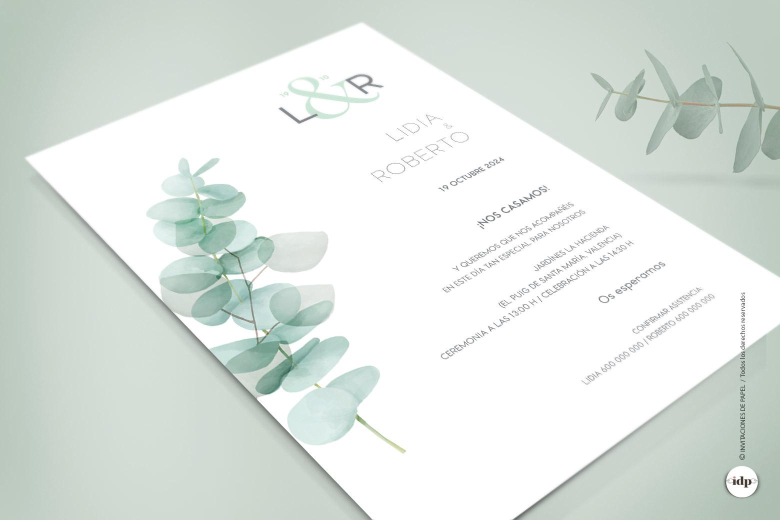 Invitaciones de Boda con Hojas Vegetales en Acuarela de Eucalipto