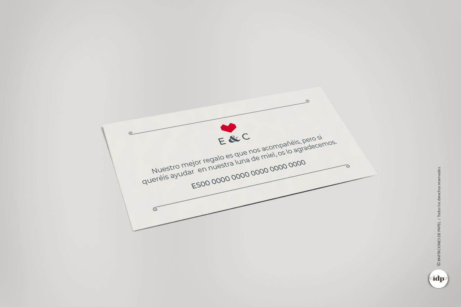 Tarjeta para el Numero de Cuenta del Banco de la Boda Vintage Años 20 - cuore