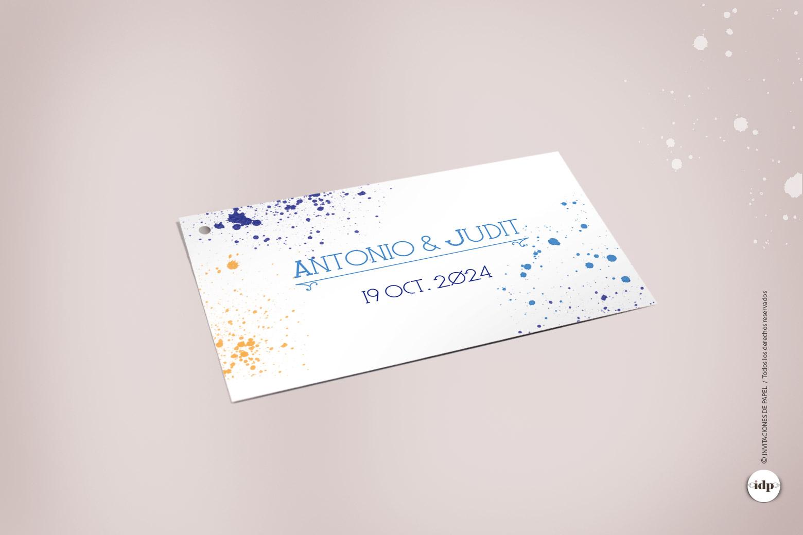 Etiqueta para Regalos de Boda Original con Acuarela - lienzo