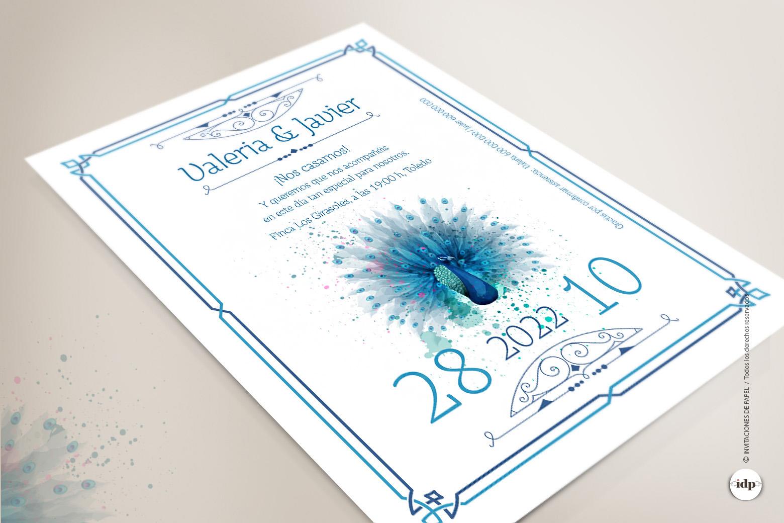 Invitaciones de Boda Vintage Azul tipo Años 20 con Dibujo en Acuarela de pavo real - royal