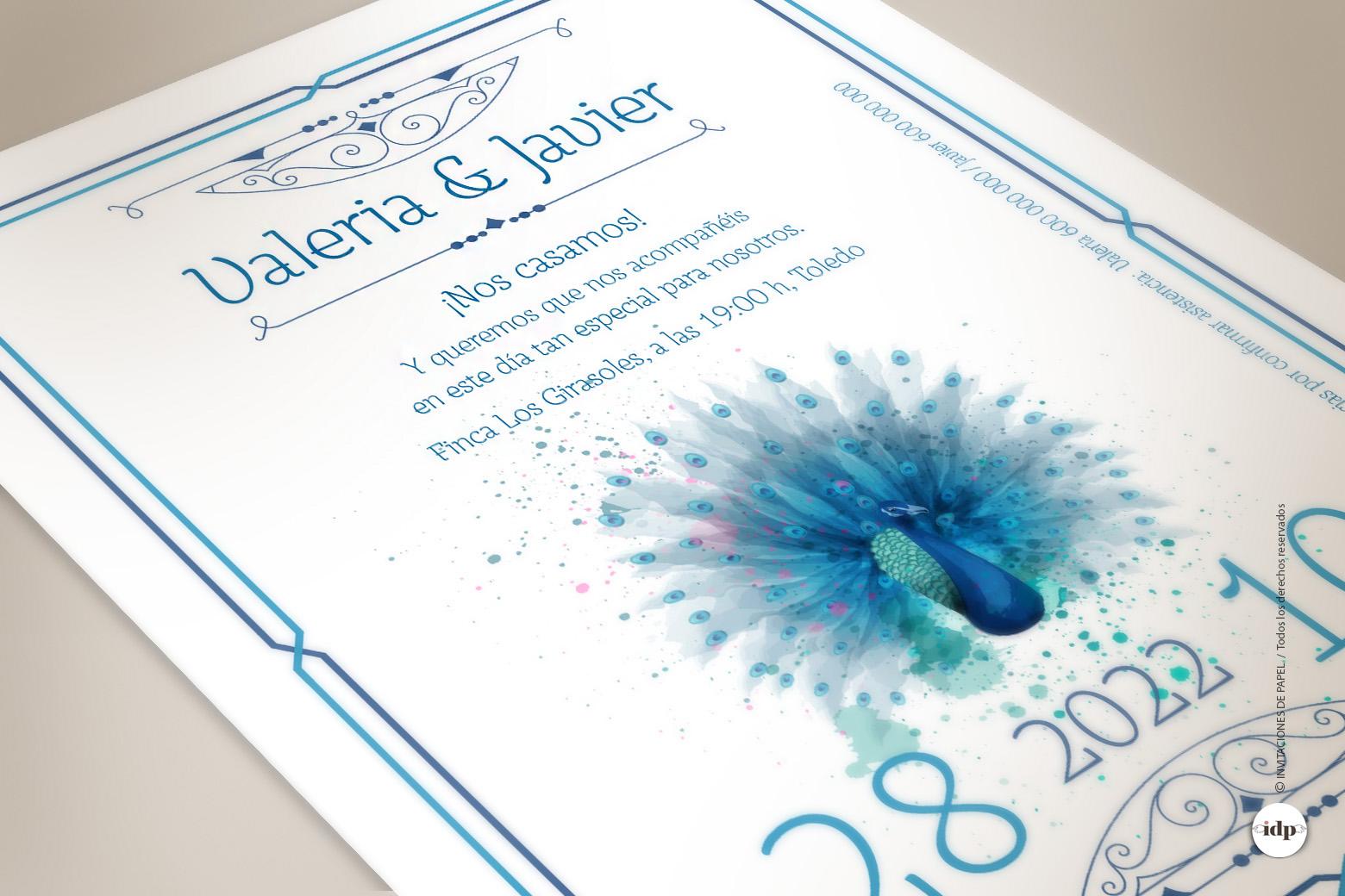 Invitaciones de Boda Azules estilo Años 20 con Pavo real en Acuarela - royal