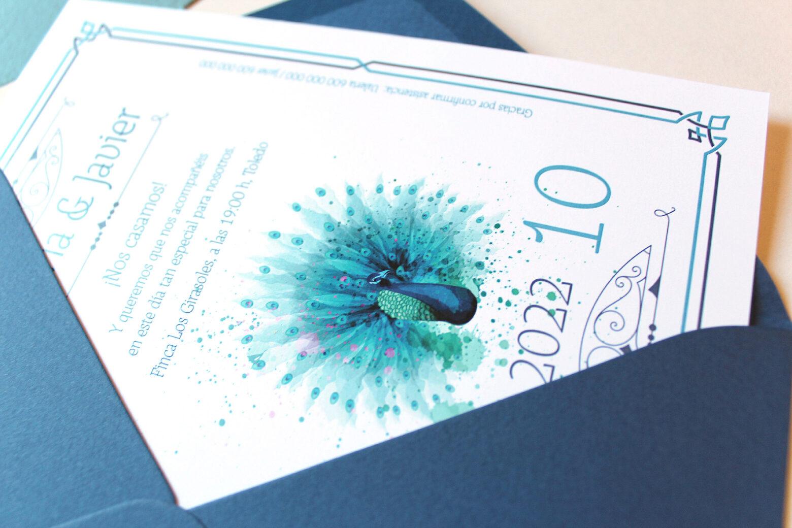 Invitacion de Boda Azul tipo Años 20 con ilustracion en Acuarela - royal
