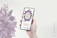 Invitacion de Boda Digital para WhatsApp con Hojas en Acuarela moradas - botanica