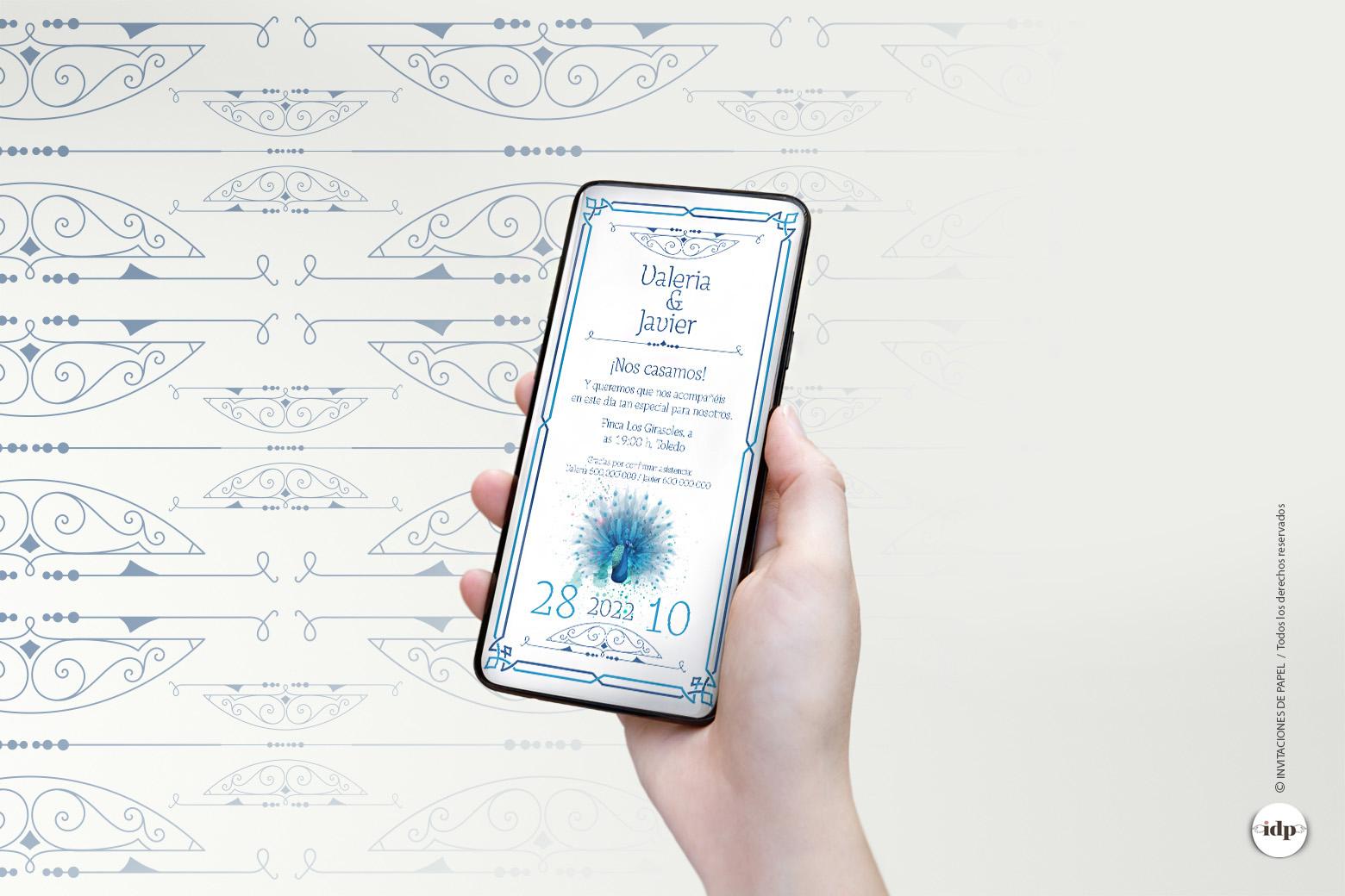 Invitaciones de Boda Digitales Originales Vintage en Azul - royal