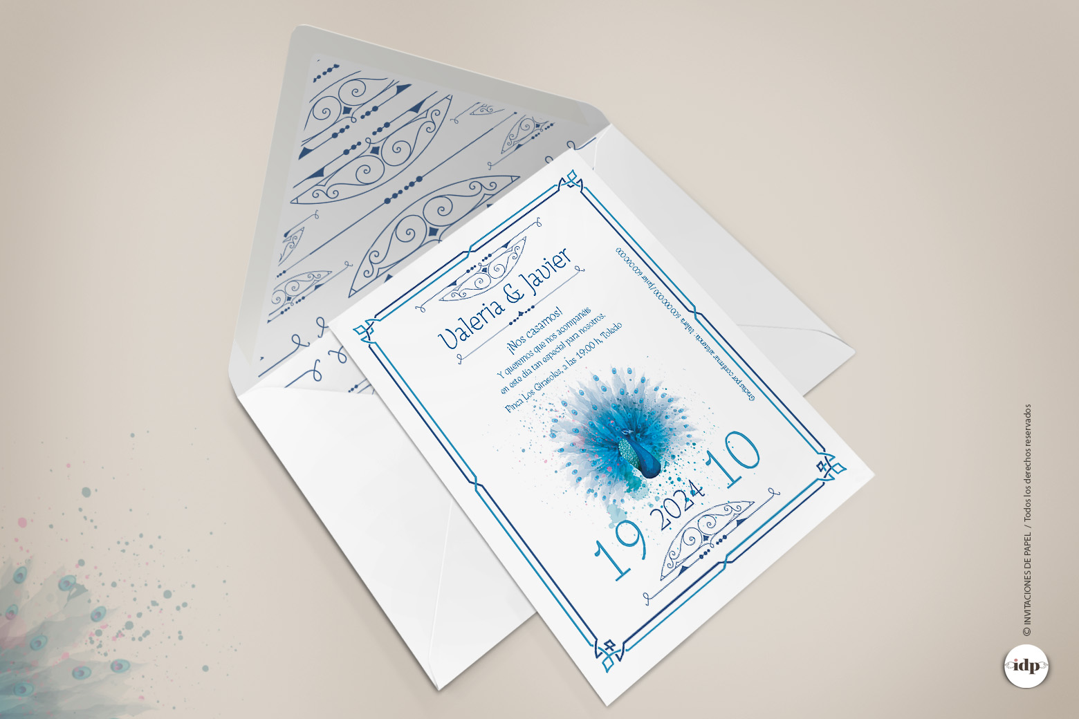 Invitaciones de Boda Azul con Sobre Decorado tipo Vintage con pavo real en Acuarela - azul