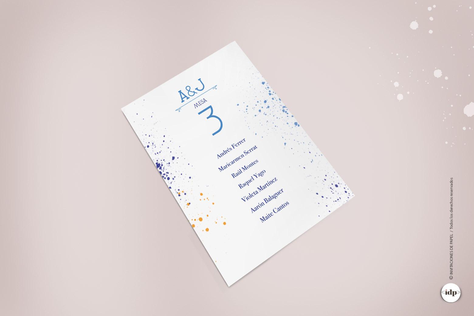 Listas de Mesa de Invitados de Boda Original con Acuarela - lienzo