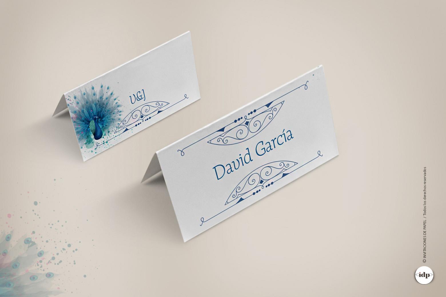 Puestos de Mesa con Nombres de Invitados Vintage en Azul con Dibujo en Acuarela - royal