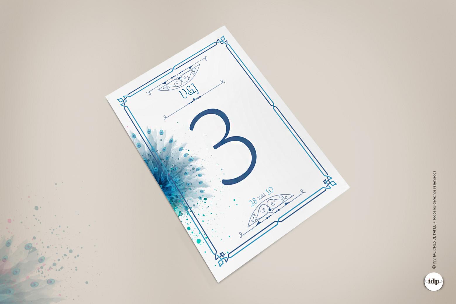 Numero para Mesa de Boda Vintage en Azul con Acuarela de un pavo real- royal